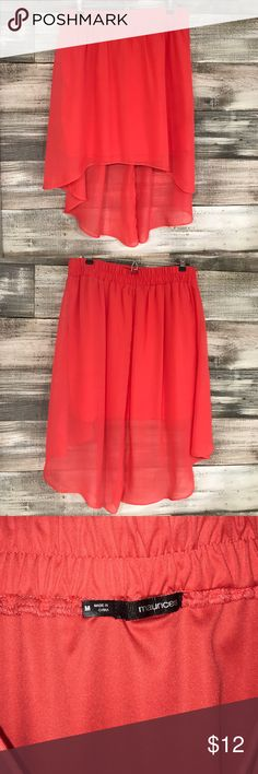 Maurices High Low Chiffon Skirt NWOT. Maurices High Low Chiffon Skirt. Color is a coral like red/orange. Beautiful and flowy! Maurices Skirts High Low
