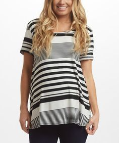 Another great find on #zulily! PinkBlush Black Stripe Maternity Swing Top #zulilyfinds