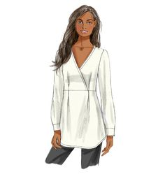 B5956 Loose-fitting, pullover, mock wrap top has raised waist, front pleats, shaped hemline, and narrow hem. #butterick #tunic