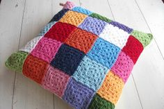 crochet patchwork cushion by my little red suitcase, via Flickr