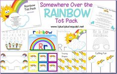 Rainbow tot pack from @1plus1plus1equals1 preschool packs, tot pack, idea, rainbow learning activities, preschool printables, rainbows, homeschool, educ, spring preschool