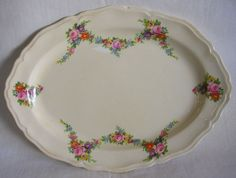 Vintage Edwin M Knowles China Floral Serving Platter