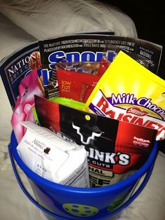 Easter Basket idea for dad/husband. I am pretty sure every gift I have ever given Clint involved food in some way.