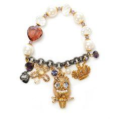 Owl Charm Half Stretch Bracelet ($55) ❤ liked on Polyvore featuring jewelry, bracelets, accessories, pulseras, women, betsey johnson bangle, charm bracelet bangle, owl jewelry, betsey johnson charms and bracelet bangle