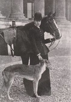 HELÉNE DE ORLEÁNS, DUCHESS OF AOSTA, SISTER OF QUEEN AMÉLIA OF PORTUGAL with Horse & Silken Windhound