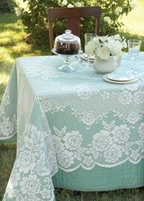 Wedding Reception Food Victorian Rose Rectangle Tablecloth by Heritage Lace. Perfect lace decor for a wedding reception. Vintage Tea Parties, Vintage Party, Vintage Lace, Vintage Style, Vintage Theme, Wedding Vintage, Lace Decor, Wedding Decorations, Party Stuff