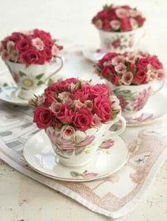 French and Victorian inspired crockery used as focal points with the floral arrangements.