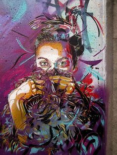 Artwork by C215: woman, lady, color, eyes, people, person, portrait, photo, graffiti, mural, street art