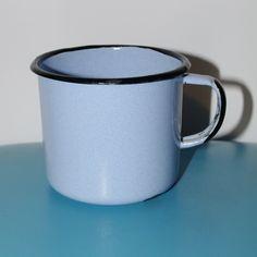 Blue & Black Enamel Cup Cute Soviet Vintage Enamel Camping Tea Cup, Farmhouse Chipped cup Blue tin cup, metal mug, Circa 70's Emalware USSR by VintagePolkaShop on Etsy