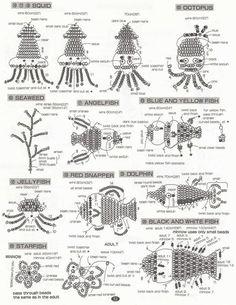схема плетения рыбок и русалок