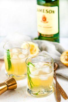 Irish Maid Cocktail - Aberdeen's Kitchen - - Quick and easy classic Irish whiskey beverage with elderflower liqueur, lemon juice and a cucumber garnish. Perfect for celebrating St. Jameson Irish Whiskey, Whiskey Sour, Jameson Whiskey Drinks, Irish Whiskey Brands, Single Malt Irish Whiskey, Whiskey Cream, Scotch Whiskey, Irish Cocktails, Cocktails