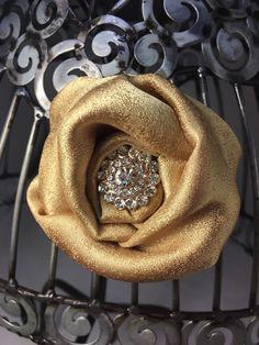 Gold hair clip, gold hair accessory, gold hair flower, girls hair flower, flower hair clip, gold and pearl hair accessory by VittysPretties on Etsy