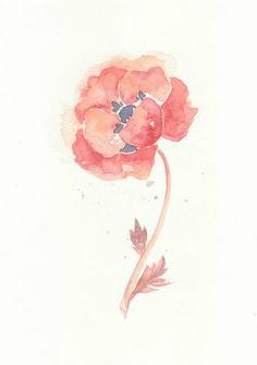 Flower, flower print, art, giclee, watercolor, watercolor painting, Watercolor art print,  Poppy----Original watercolor giclee print, No-53. $18.00, via Etsy.