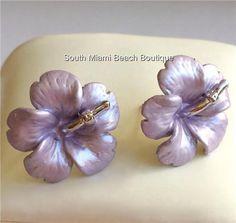 Silver Hibiscus Purple Enamel Earrings Post Beach Wedding Bridal Hawaiian Flower #Unbranded #Stick