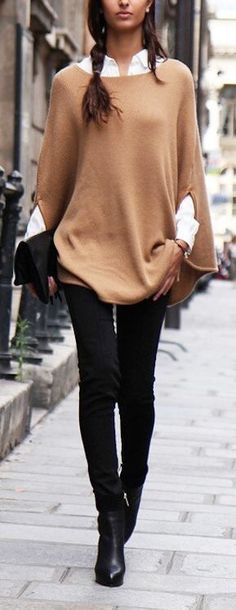 2017 Cotton Blend Knitwear Cloak Cape Sweater Smart Jumper Poncho Tops – Outfit Inspiration & Ideas for All Occasions Stylish Winter Outfits, Casual Work Outfits, Winter Outfits For Work, Mode Outfits, Work Casual, Fall Outfits, Fashion Outfits, Casual Wear, Fashion Heels