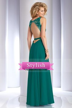 2016 Sexy Open Back Prom Dresses Scoop With Applique And Beading Chiffon