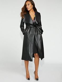 Black Faux-Leather Trench Coat - Gabrielle Union Collection - New York & Company Celebrity Outfits, Celebrity Babies, Leather Trench Coat, Leather Jackets, Gabrielle Union, Petite Fashion, Ladies Fashion, Women's Fashion, Aesthetic Fashion