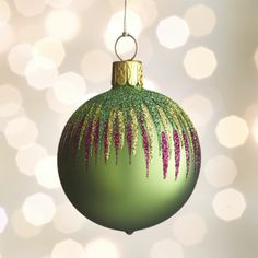 Green Global Glitter Design Ball Ornament  | Crate and Barrel