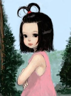 Beautiful little girl •(˘◡˘)• lovely painting!!! (I used to wear my hair just like this and fixed my own daughters hair the same way ~ brings back sweet memories) Well done to the Artist!!!: