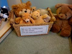 "Have a basket of ""reading bears"" in the book corner to support children with rea… - Deutschunterricht Ideen Eyfs Activities, Nursery Activities, Reading Activities, Year 1 Classroom, Preschool Classroom, School Displays, Classroom Displays, Book Corners, Reading Corners"