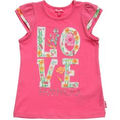 Little girls pretty, fuchsia pink t-shirt by Pampolina made from soft cotton jersey with the designer's logo and 'Love' in floral lettering appliqued on the front. It has feminine, ruffled cap sleeves. <br /> <ul> <li>95% cotton, 5% elastane (soft, stretch jersey)</li> <li>Machine wash (40*C)</li> <li>Designer colour: Pink flambe </li> </ul>