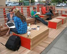 Creative - Seating/Benches Vancouver parklet/outdoor reading room--way in which reading room transitions to lobby/lounge?, next door street scape?