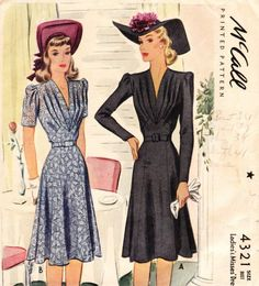 Vintage 1940s dress pattern by McCall #4321