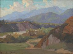 """Marion Wachtel (1870-1954), """"Monrovia Canyon."""" This area is totally paved over today... you wouldn't be able to see the mountains due to the smog..."""