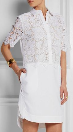 'Breeson' Lace And Piqué Shirt Dress in White