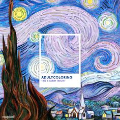 The Starry Night (1889) by Vincent van Gogh: adult coloring page | free image by rawpixel.com Arte Van Gogh, Free Adult Coloring Pages, Coloring Book, John James Audubon, Mode Shop, National Gallery Of Art, Free Illustrations, Vincent Van Gogh, Free Image