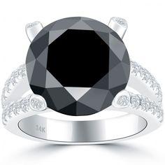 8.25 Carat Certified Natural Black Diamond Engagement Ring 14k White Gold - Thumbnail 1