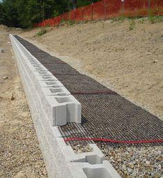 Diy Retaining Wall, Backyard Retaining Walls, Retaining Wall Design, Building A Retaining Wall, Concrete Retaining Walls, Retaining Wall Drainage, Sleeper Retaining Wall, Poured Concrete, Railroad Tie Retaining Wall