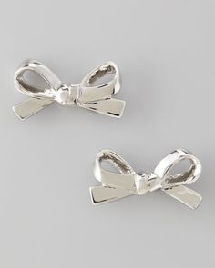 Mini Bow Stud Earrings, Silver by kate spade new york at Neiman Marcus.