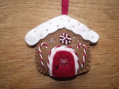 Gingerbread house Christmas decoration felt by MaysCottageWales