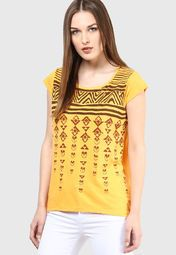 People Yellow Solid Blouse Online Shopping Store