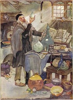 """PAINTING ~ Jewish Merchant in the 1800s  This does not appear to be the correct caption:  I would say he is an alchemist or """"chemist"""" (i.e. pharmacist/apothecary) given the supplies he is using and the open book.   It is also possible that he is not Jewish; it ws the fashion in Victorian times for old men to wear skullcaps.   The artist is Anne Anderson."""