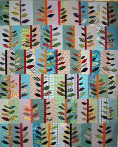 By Niftyquilts ~ A collaboration with Bonnie Hull. Inspired by a pattern in the book, Applique Outside the Lines by Piece 'O Cake Designs.