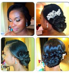 Still searching for the perfect 'do for your big day? From side sweeps to low chignon, you will absolutely love this Black Wedding Hairstyles, Formal Hairstyles, Bride Hairstyles, Gorgeous Hairstyles, Black Hairstyles, Wedding Hair And Makeup, Bridal Makeup, Hair Makeup, Bridal Beauty