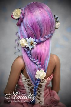 Items similar to Fairy Glade (BJD wig) on Etsy Barbie Hair, Doll Hair, Pretty Hairstyles, Wig Hairstyles, Pelo Multicolor, Colored Highlights, How To Draw Hair, Hair Art, Braid Styles