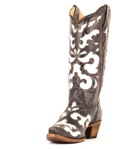 Corral Women's Antiqued Black/White Inlay Cowgirl Boot   http://www.countryoutfitter.com/products/27472-womens-antiqued-black-white-inlay-boot-a1965 #cowgirlboots