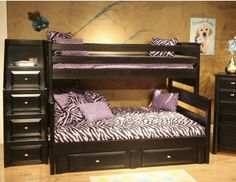 Black Cherry Twin Over Full Bunk Bed w/ Storage & Stairway Chest - Chelsea Home Furniture three generations Chelsea Home Furniture Brands has strived to bring comfort to your home. Our wide selection of quality made products will transfo Bunk Bed With Desk, Bunk Beds With Storage, Bunk Bed With Trundle, Bunk Beds With Stairs, Cool Bunk Beds, Twin Bunk Beds, Kids Bunk Beds, Bed Storage, Loft Beds