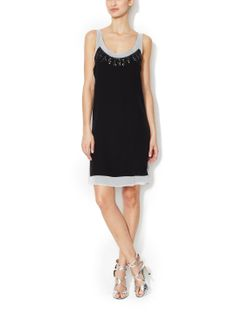 Silk Jeweled Shift Dress by The Letter at Gilt