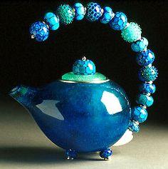 """""""Teapot - Blue - approximately x x pâte de verre, lampwork glass, fine & sterling silver Now that's a tea pot ! Teapots Unique, Teapots And Cups, Ceramic Teapots, My Cup Of Tea, Chocolate Pots, Tea Time, Vases, Tea Party, Glass Art"""