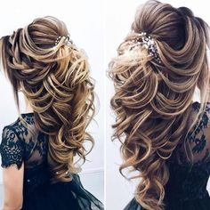 😍 To add the fullness to this hairstyle use our E. Long Hair Wedding Styles, Wedding Hairstyles For Long Hair, Bride Hairstyles, Pretty Hairstyles, Bridal Hair Updo, Bridal Hair And Makeup, Peinado Updo, Brown Hair With Blonde Highlights, Quinceanera Hairstyles