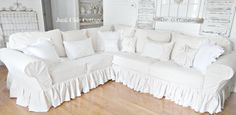 2 Cushion Sectional Slipcover 1 Arm by LHarmonDesign Sectional Slipcover, Corner Sectional, Junk Chic Cottage, Lake Cottage, Garden Cottage, Cottage Living, My Living Room, Home And Living, Custom Slipcovers