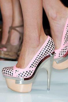 Love the bulky look on a Versace platform heel.