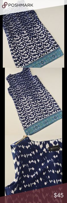 """Border Print Sleeveless Sheath Dress NWT Fantastic border print dress in pretty shades of blue accented with functional zippers on the shoulders! Darts for shape & fit. 40"""" bust 39 waist 42"""" hip 34"""" length from shoulder. New with tags. See photos for fabric & care  Bundle discount  ⭐️5 star rated Suggested User Smoke free home No trades please   Thank you for shopping with me. Please ask all questions before purchase AB Studio Dresses"""