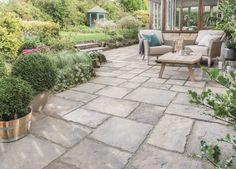 Everything you need for a garden makeover. Cottage Garden Patio, Garden Floor, Garden Paving, Bradstone Paving, Paving Ideas, Limestone Paving, Concrete Paving, Cement, Outdoor Paving
