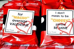 Boys Valentine printable from Just Another Day in Paradise. Says Nacho Average Valentine. Uses nacho cheese snack-sized bag of chips.