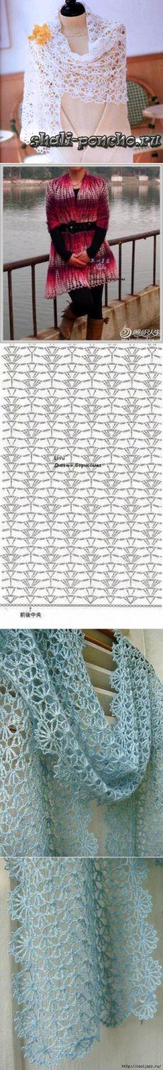 ажурный палантин крючком - Самое интересное в блогах